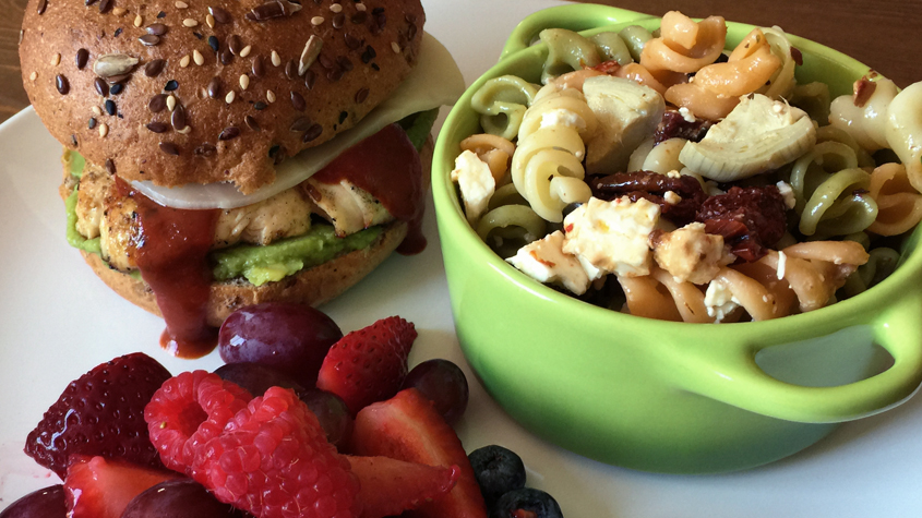 Chicken Sandwich with Pasta Salad and Fresh Fruit